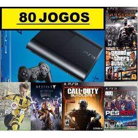 Ps3 Super Slim 500 Gb+80 Jogos Originais+ God Of War + Gta5