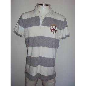Camisa Masculina Polo Listrada Cinza E Branca Marfinno Tam M