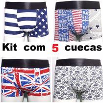 Kit 5 Cuecas Boxe Estampadas Países Bandeira ,marcas Barato