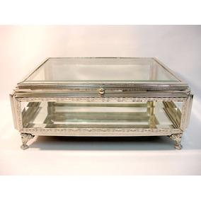 Porta-jóias Caixa Europeia Em Prata E Cristal Lindíssima