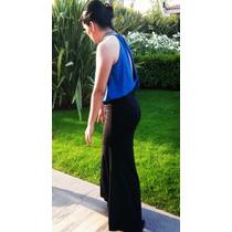 Hermoso Vestido De Fiesta Azul Y Negro Soya Bs. As. Original