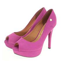 Sapato Scarpin Peep Toe Vizzano Camurça Pink Violeta Rosa