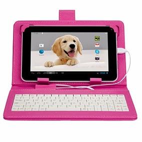 Capa Teclado Tablet Rosa Nova 7 Polegadas Entrada V8 Usb
