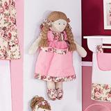 Porta Treco Boneca Princesa Rosa Com Flores Bordo Meninas