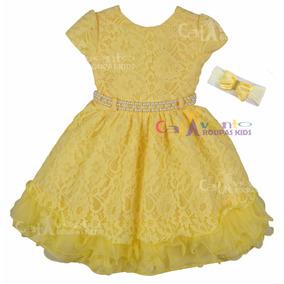 Vestido De Festa Infantil Rendado Princesa Bela Com Faixa