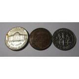3 Moneda Usa 1 - 5 Cents 1 Dime 1977 1995 1994 Lote U8