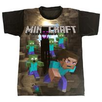 Camiseta Infantil Minecraft Fugindo Dos Zumbis [29]