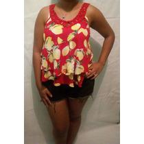 Blusa Regata Camiseta Alça Fina Tecido Leve Da Moda+ Brinde