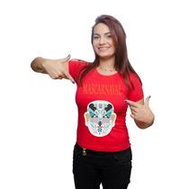 Camiseta Camisa Carnaval Feminina Mascara Chinesa Algodão
