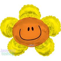 6 Globos Metalico 14 Cara Flor Amarilla Para Arreglo D Mesa