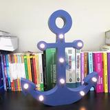Luminária Led Ancora Azul Mdf Mesa/escrivaninha