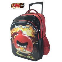 Mochila Rodinhas Angry Birds Red Alto Relevo + Estojo Grátis