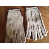 Guantes De Lana Tejidos Al Crochet Impecables Vintage