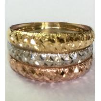 Ngold Anel Tricolor 3 Cores Triplo Diamantado 18 K 750