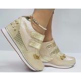 Zapatos Mujeres Deportivo Dama Tacón Virtual Dorado Moda