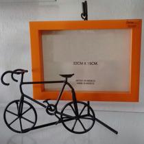 Portaretrato Herreria Madera 22x15 Cms Bici