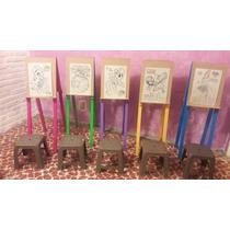 Kit 5 Caballetes D Madera Pinceles Pellones Pintura Fiestas