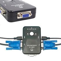 Chaveador Switch Kvm 2 Portas Vga + 2 Usb Monitor Mouse Cpu
