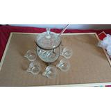 Poncheira Em Cristal Lapidado + Concha + 5 Canecas Perfeita!