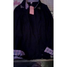 Camisa Negra Con Detalle De Cuadros
