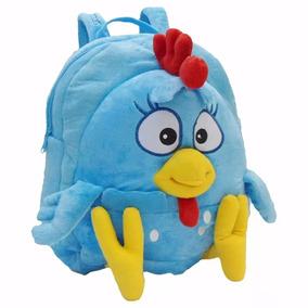 Mochila Galinha Pintadinha Pelúcia Infantil Bebê Azul