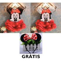Fantasia Infantil Minnie Com Tiara Grátis - Pronta Entrega