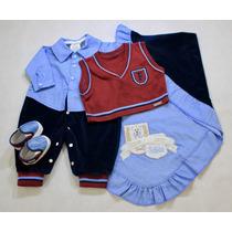 Saída De Maternidade Fofinho Menino Azul Colete E Sapatinho