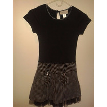 Vestido Importado Negro Con Lunares Blancos En La Falda T 12
