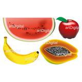 Vetores E Imagens Frutas Banana Melancia Mamão Maçã