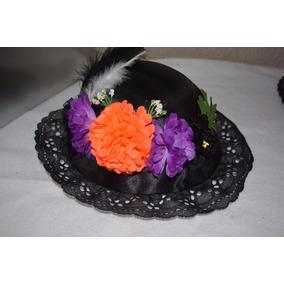 Sombrero D Catrina Naranj Niña Dia Muertos Halloween Disfraz