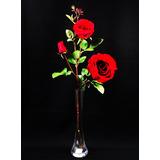 Vaso Vidro + Rosa Artificial - Solitários Arranjos Vermelha