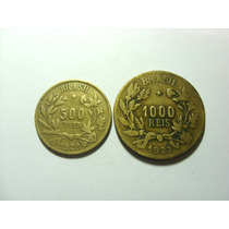 Serie 02 Moedas 500 E 1000 Reis De 1927 Símbolo Da Fortuna !