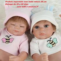 Bebe Reborn Casal De Gêmeos Mini 28 Cm Mini Realista