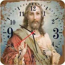 Relogio Madeira Retro Jesus Cristo
