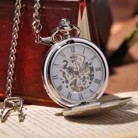 Elegante Reloj De Bolsillo De Cuerda Con Cadena Baño Plata