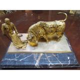 Antiguo Tintero De Bronce Ormolu Dorado Al Oro Torrero Toro