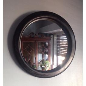 Espejo Redondo Con Marco De Madera Pintada 48 Cm - Nuevo