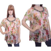 Blusa Bata Em Chifon Estampa Floral Com Bordado No Decote