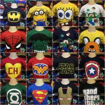 Kit Com 06 Camiseta Infantil Super Heróis