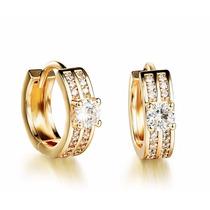 Brinco Argola Feminino Banhado Ouro Pedra Diamante Sintético