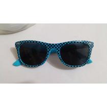 Oculos De Sol Xadrez Azul E Preto - One Self