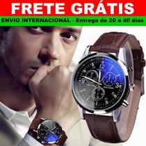 Relógio Masculino Luxo, Quartzo, Analógico, Aço Inox, Couro