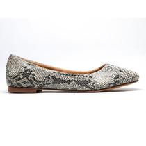 Zapatos Dama Frenezzo Flats Savage Animal P Víbora Blanco