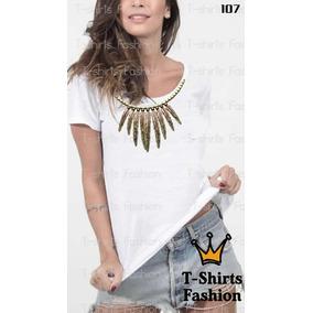 Camiseta T-shirt Colar Pena Fashion Feminino Blusa Baby Look