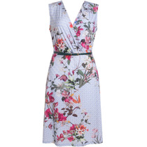 Vestido Feminino Social Estampado Floral Malha Fria Com Cint