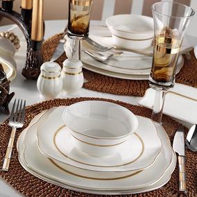 Aparelho De Jantar Porcelana Quadrado Bone/ 50111 73 Peças