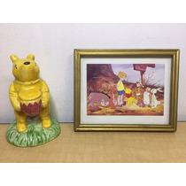 Winnie The Pooh Cuadro Y Mono Bulto Cerámica Colección