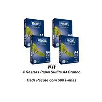 Papel Sulfite A4 Branco 75grs - Kit 4 Pacotes 500folhas Cada