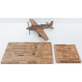 Avião Mustang P-51 Mdf Puzzle P/montar Corte A Laser 3d
