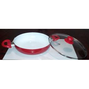 Cacerola-sarten Porcelanizada Con Tapa-cristal De 25 Cm.